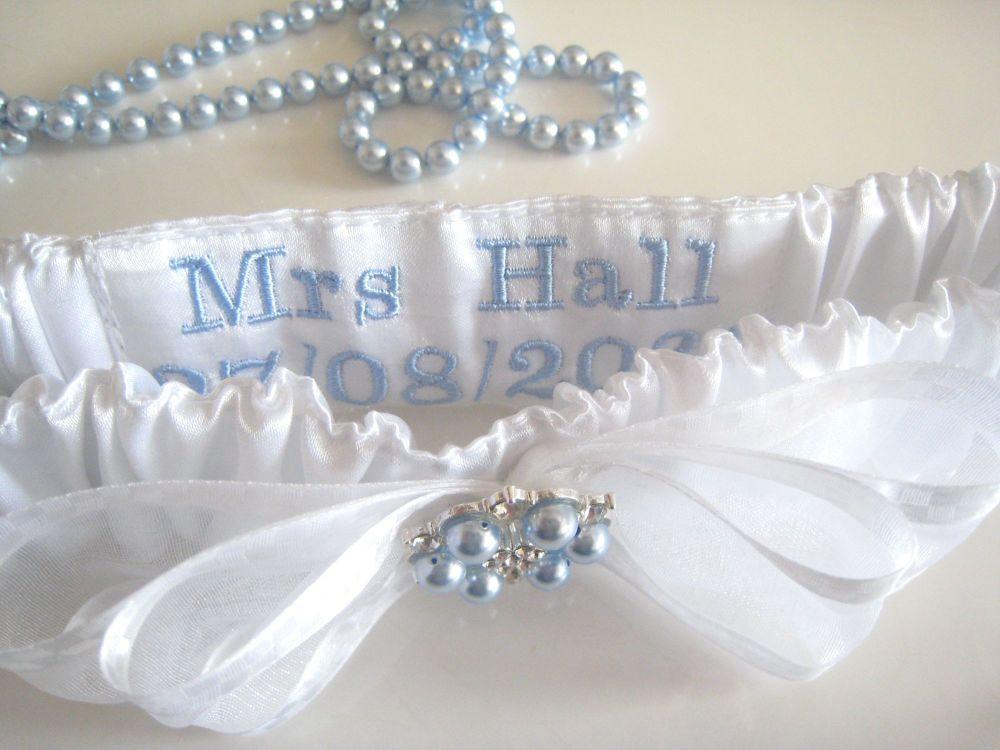 Personalised Garters, Swarovski Blue Pearls