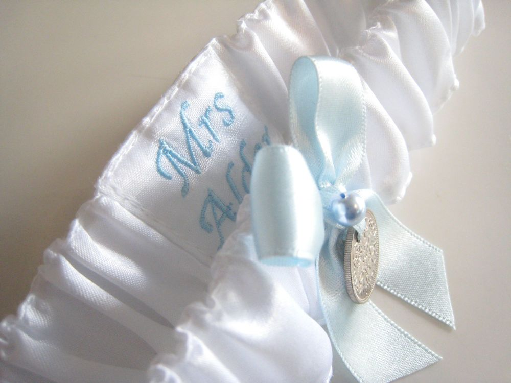 Silver Sixpence Wedding Garter