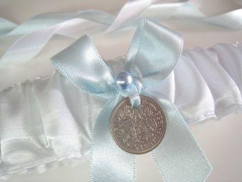 'Vicky' Sixpence Wedding garter, Something Blue Bridal Garter