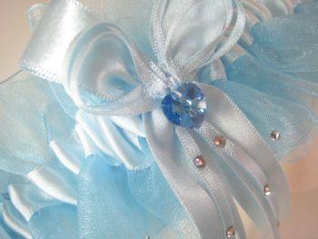 Adi Organza Pale Blue Wedding Garter Covered In Swarovki Crystals