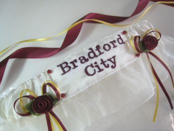 No.6 BRADFORD CITY Organza Wedding Football Garter, Football Garters
