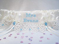 PALE BLUE Wedding Garters
