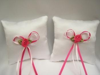 No.2 Mini Wedding Ring Cushion x 2 HOT PINK/PALE PINK