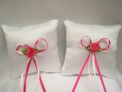 No.2 Mini Wedding Ring Cushion x 2 HOT PINK/PALE PINK