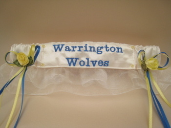 No23 WARRINGTON WOLVES Organza Rugby Wedding Garter