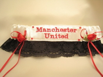 MANCHESTER UNITED Black Lace  Wedding Football Garter