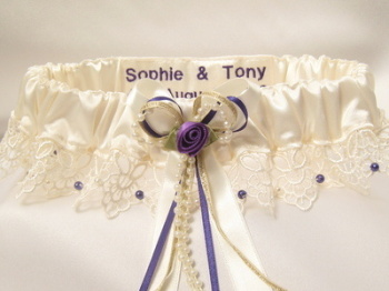 NEW 'Cassie' Purple Wedding Garter, Personalised Garters UK