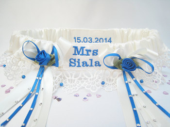 Made To Order Royal Blue Garter, Personalised Wedding Garters UK