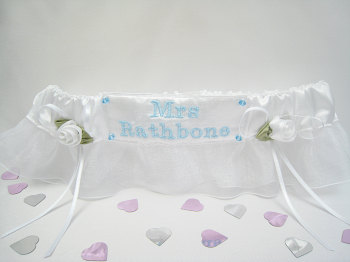 JOY Personalised White Garter With A Touch of Blue Embroidery