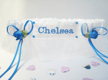 No.8  CHELSEA Organza Wedding Football Garter