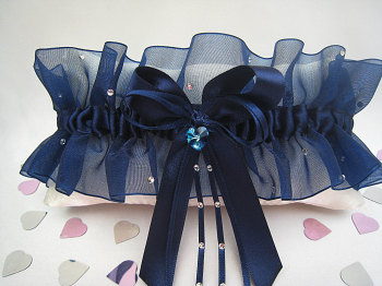 Navy Organza Wedding Garter, Navy Wedding Garter