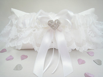 White Lace Wedding Garter, Garter Can Be Personalised And Blue Added