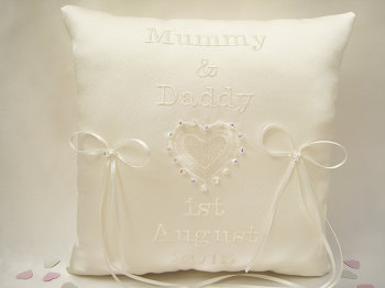 Personalised Wedding Ring Cushion, CHOOSE Colours Ring Cushions UK