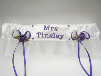JOY Purple Wedding Garter For Bride