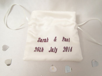 Add Names/Date Onto Your Dolly Bag Or Ring Bag