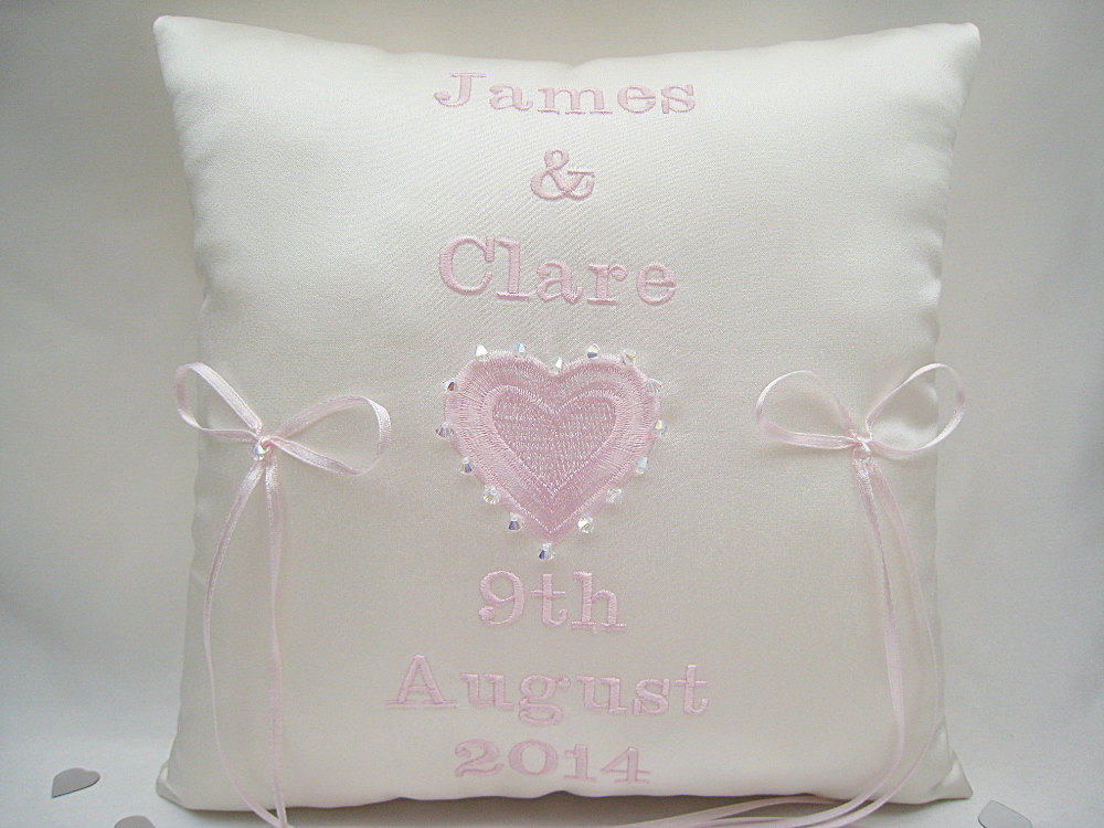 Pale Pink Personalised Wedding Ring Cushions With Swarovski Crystals