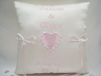 Pink Personalised Wedding Ring Cushions With Swarovski Crystals