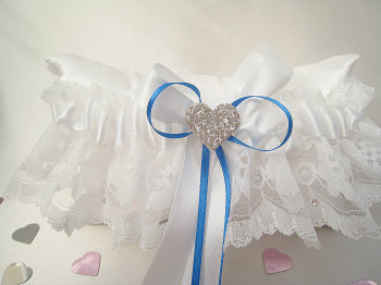 'Beau' Royal Blue Lace Wedding Garter For Brides