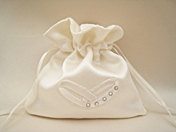No.3 Wedding Ring Pouch/Bag With Swarovski ALL IVORY/WHITE