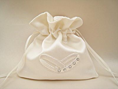 No.3 Wedding Ring Pouch/Bag With Swarovski ALL IVORY/WHITE