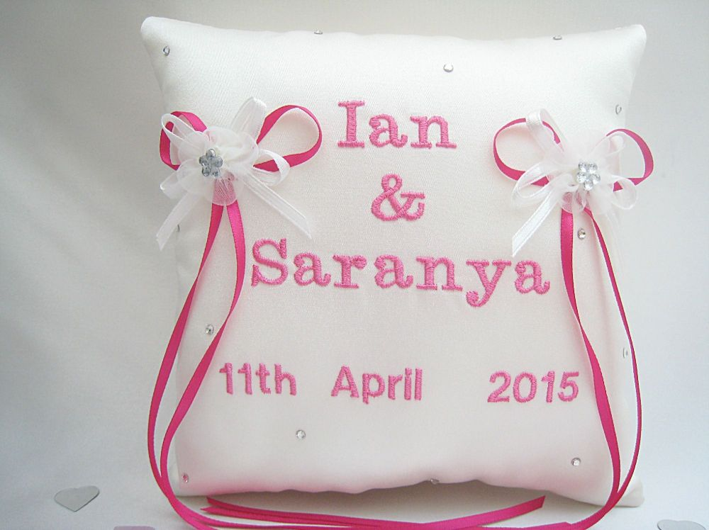 No.3 Hot Pink Personalised Wedding Ring Cushion, Luxury Ring Cushions