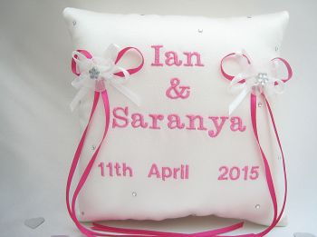 No.2 Hot Pink Personalised Wedding Ring Cushion, Luxury Ring Cushions