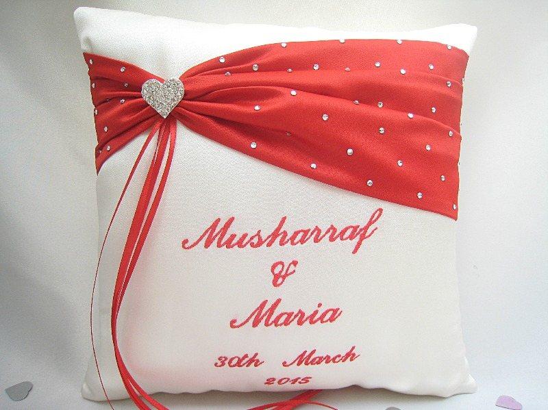 heart cushion red