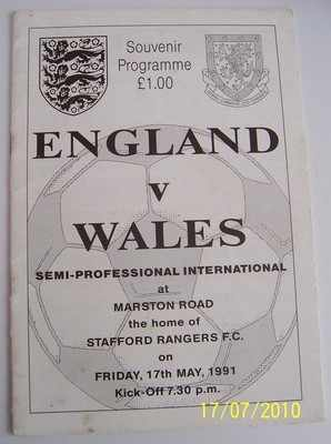 England v Wales 1990/91 Semi Pro International football programme