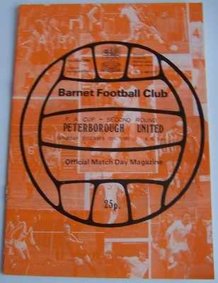 Barnet v Peterborough Utd FA Cup 3rd round 1980/81 football programme
