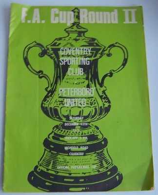 Coventry Sporting v Peterborough FA Cup 1975/76 football programme