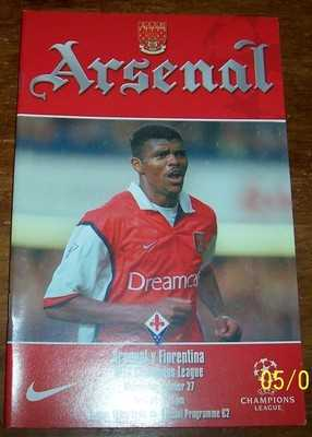 Arsenal v Fiorentina 1999/00 Champions League Football programme
