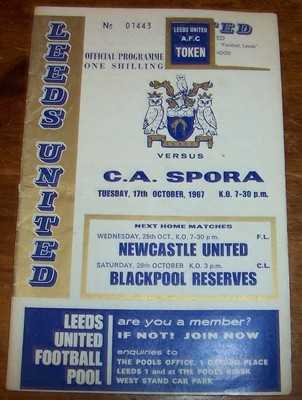 Leeds v C A Spora 1967/68 Inter Cities Fairs Cup Football programme