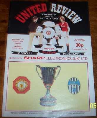 Manchester Utd v Juventus 1983/84 Cup Winners Cup Football programme