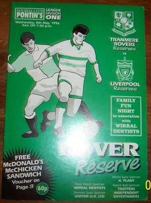 Tranmere Rovers v Liverpool 1995/96 Reserve Football programme