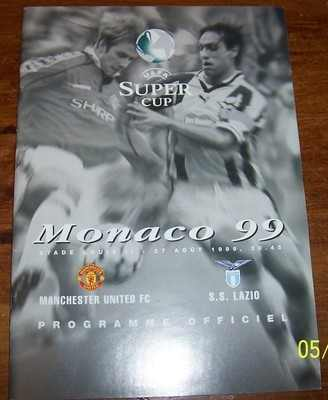 Manchester United v Lazio European Super Cup 1999 football programme