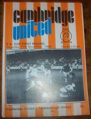 Cambridge United v Peterborough Utd 1984/85 FA Cup football programme