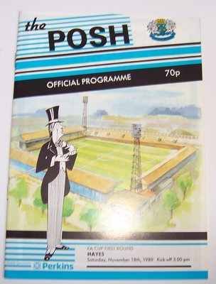 Peterborough United v Hayes FA Cup 1989/90 football programme