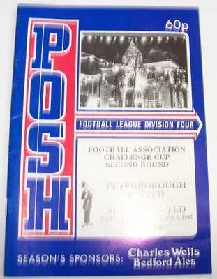 Peterborough United v Sutton United FA Cup 1987/88 football programme