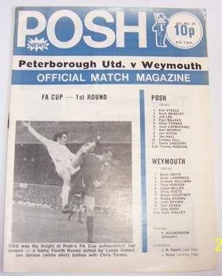 Peterborough v Weymouth FA Cup 1st round 1974/75 football programme