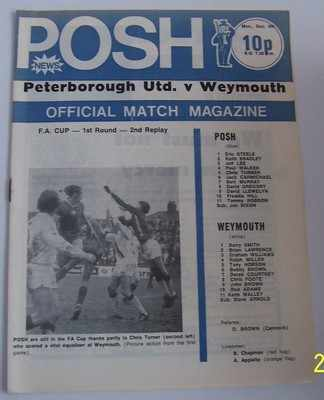 Peterborough v Weymouth FA Cup 1st rd 2nd rep 74/75 football programme