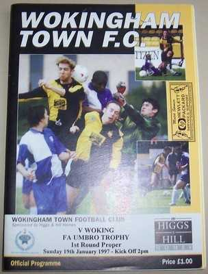 Wokingham v Woking FA Trophy 1996/97 football programme + ticket