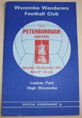Wycombe Wanderers v Peterborough FA Cup 1973/74 football programme