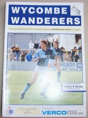 Wycombe Wanderers v Peterborough FA Cup 1990/91 football programme