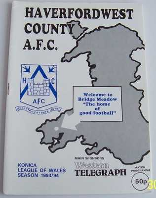 Haverfordwest County v Conwy United 1993/94 football programme