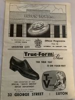 Luton Town v Leicester City 1955/56 FA Cup 3rd round football programme