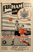 Fulham v Derby County 1958/59  football programme