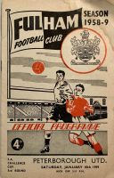 Fulham v Peterborough United 1958/59 FA Cup football programme