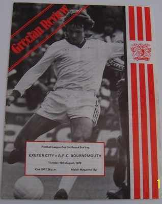 Exeter City v Bournemouth 1978/79 football league cup programme