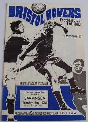 Bristol Rovers v Swansea 1968/69 football league cup programme