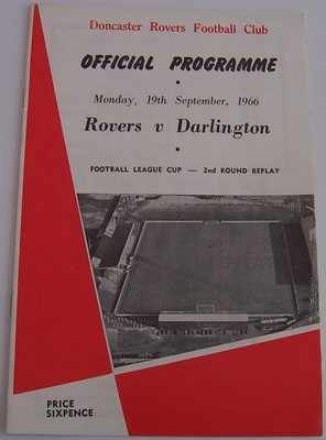 Doncaster Rovers v Darlington 1966/67 Football league cup programme